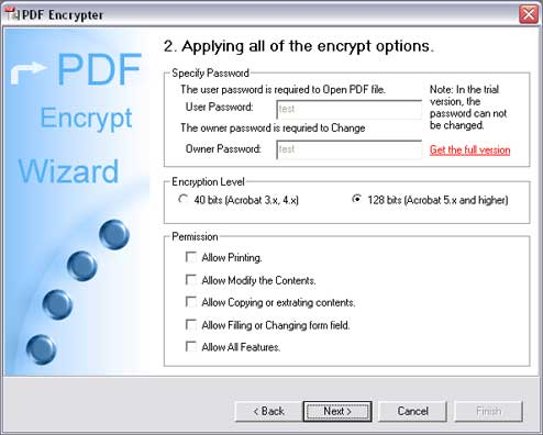 Click to view PDF Encrypter 2.50 screenshot